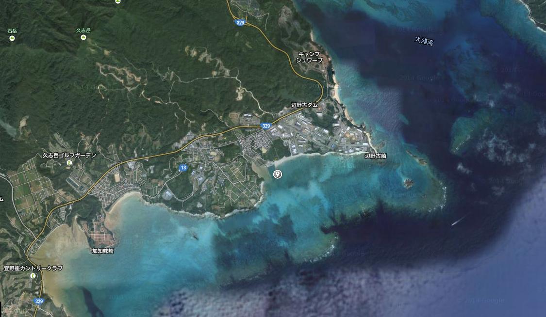 サンゴ片収集場所 拡大地図